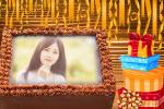 Chocolate birthday cake photo frame