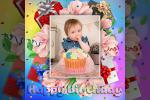Photo Frame Happy Birthday With Flower Colorful