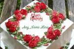 Rose Flavor Birthday Cake For Friend With Name On It