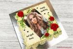 Write Names And Photos On A Beautiful Birthday Cake