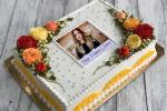 Photo And Name On Lovely Flower Birthday Cake