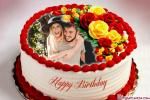 Beautiful Rose Birthday Cake With Photo Frame Edit