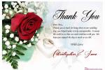 Thank You Wedding Cards With Romantic Rose