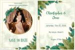 Watercolor Leaves Wedding Invitation Cards