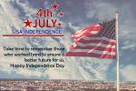 America Independence Day Greeting Card With Flag