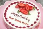 Fruity Strawberry Birthday Cake With Name