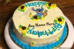 Funny Stitch Birthday Cake With Name Edit