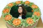 Orange Floral Border Birthday Cake With Photo Editing