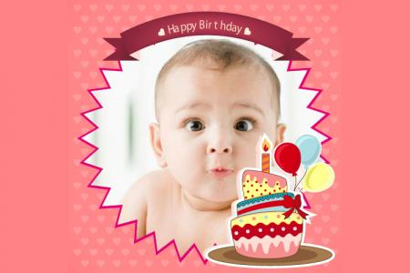 Beautiful birthday photo frame with i-cream