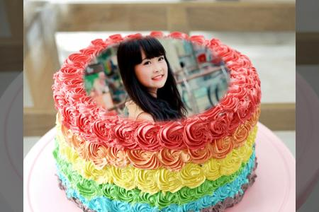 Color birthday cake photo frame