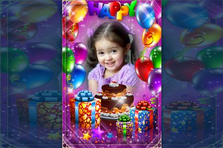 Violet birthday photo frame