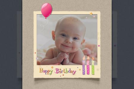 Pink birthday invitation card