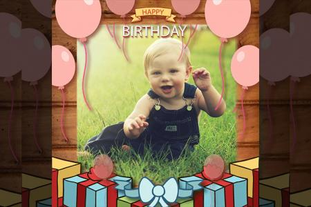 Frame Birthday Giftbox and Balloon