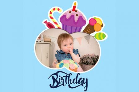 Photo Frame Happy Birthday With Candy