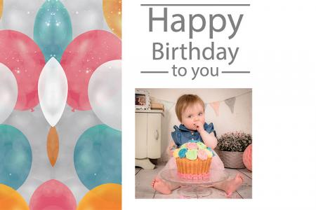 Photo Frame Happy Birthday With Glitter Balloon