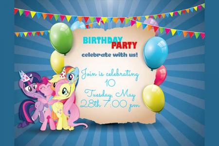 Frame birthday cake happy birthday wishes amp birthday cakes with birthday invitation card with little pony bookmarktalkfo Image collections