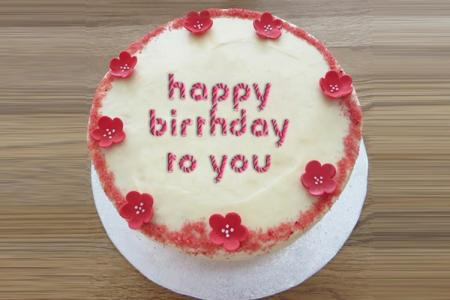 Birthday cake with text online