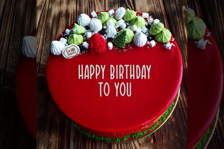 Write Name On The Birthday Cake With Flower