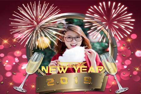 Fireworks photo frame to celebrate new year 2019