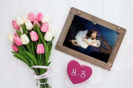 Women's Day With Flower Frame Online