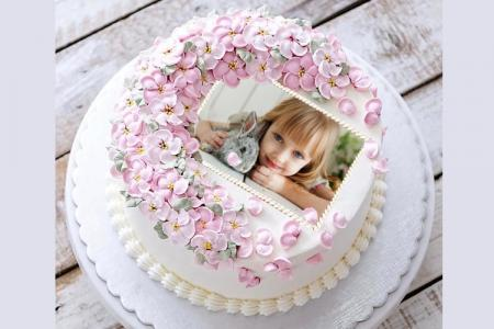 Birthday Cake Photo Frame With Lovely Flowers