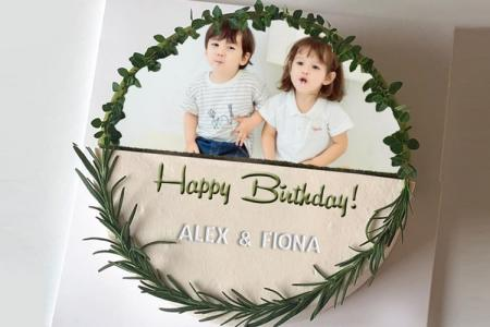 Green Birthday Cake With Photo And Name