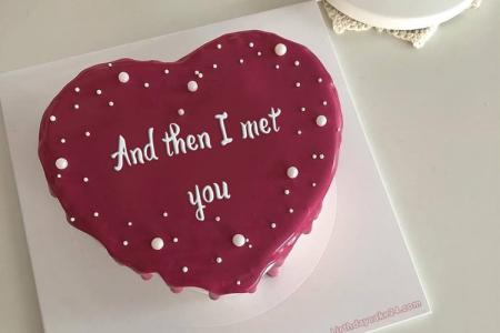 Romantic Heart Birthday Cake With Name