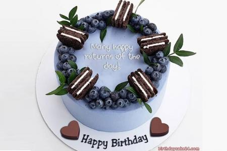 Chocolate And Blueberry Cake For Birthday With Name