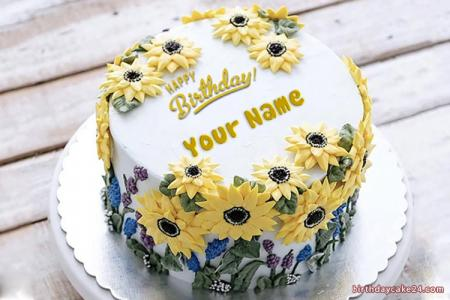 Write Name On Birthday Cake With Sunflowers