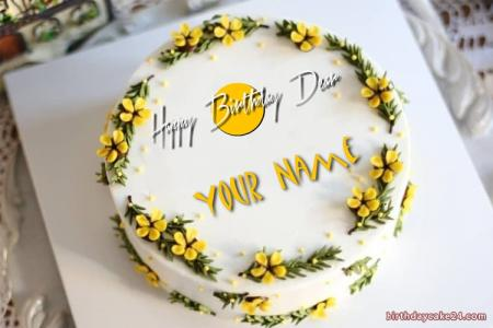 Yellow Birthday Cake For Friend With Name New