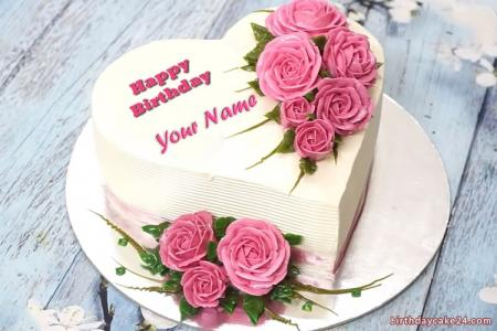 Beautiful Pink Heart Name Birthday Cake With Roses