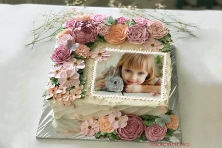 Beautiful Square Birthday Cake For Women With Photo