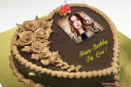 Chocolate Heart Birthday Cake With Name And Photo