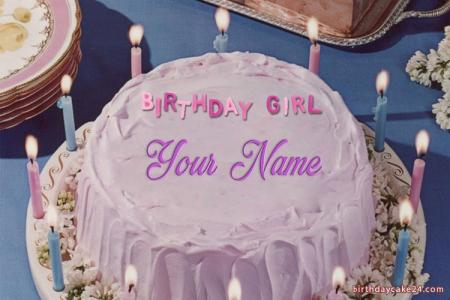 Beautiful Candles Birthday Cake With Name Online