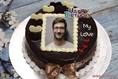 Lovely chocolate birthday cake with name and photo