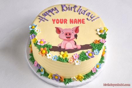 Lovely Pig Happy Birthday Cake With Name
