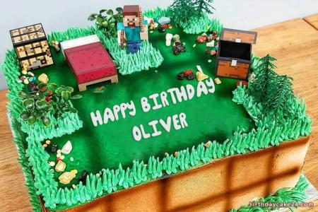 Write Name On Minecraft Birthday Cake