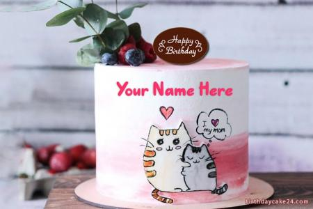 Write Name On Cute Cat Birthday Cake