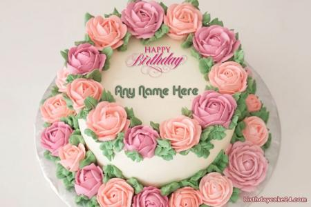 Beautiful Flower Birthday Cake of 2 Floors With Name
