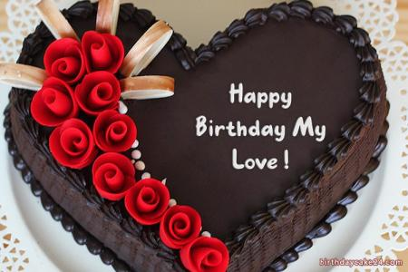 Write Name On The Most Romantic Heart Birthday Cake