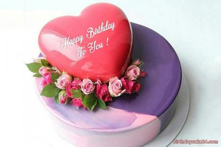Romantic Fresh Flower Birthday Cake With Name Edit