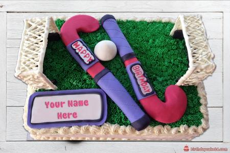 Write name on happy birthday hockey cake