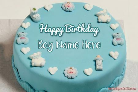 Kids Boys Birthday Cakes With Name Edit