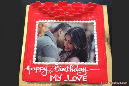 Birthday Cake With Love Photo Frame Online