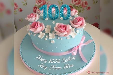 Happy 100th Birthday Cake With Name