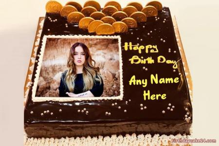 Chocolate Happy Birthday Cake With Name and Photo