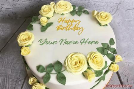 Beautiful Yellow Rose Birthday Cake With Your Name