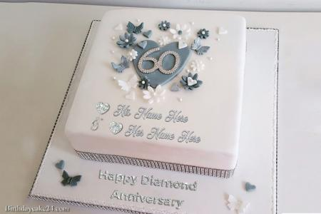 Happy 60th Wedding Anniversary Cake With Name Free Download