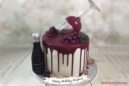 Write Name on Wine Fruit Birthday Cake