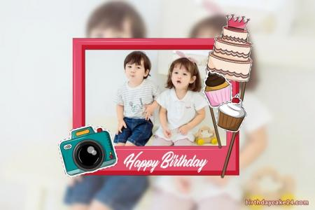 Create 2 Layer Happy Birthday Photo Frames Online